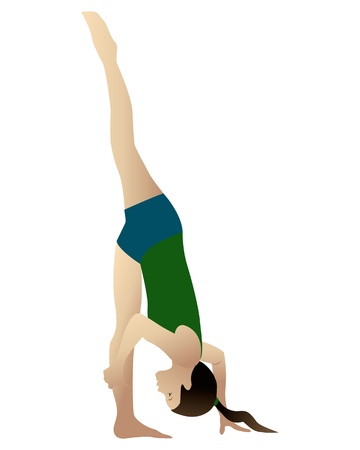 Young woman practicing yoga Urdhva Prasarita Eka Padasana Standing Split  isolated on white photo