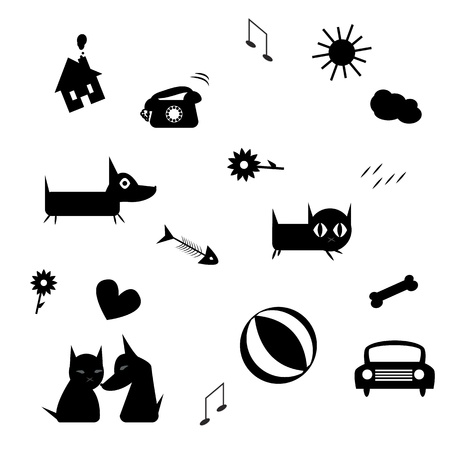 Funny icons  black silhouettes isolated on white Vector
