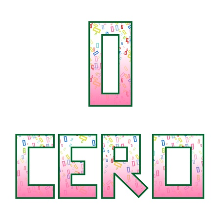 naming: Zero  Cero  Fun colorful numbers with their naming in Spanish, isolated on white