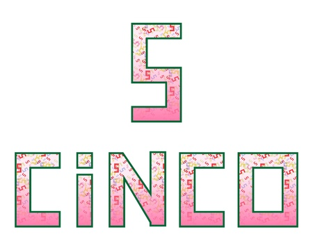 Five Cinco  Fun colorful numbers with their naming in Spanish, isolated on white Vector