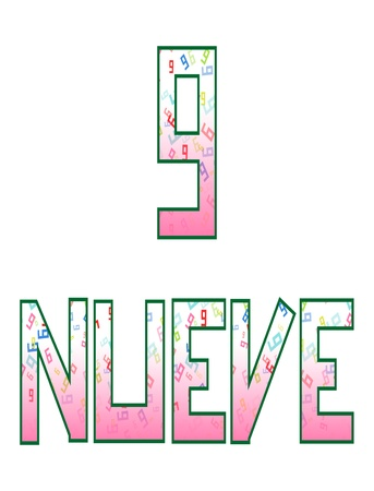 naming: Nueve nine  Fun colorful numbers with their naming in Spanish, isolated on white