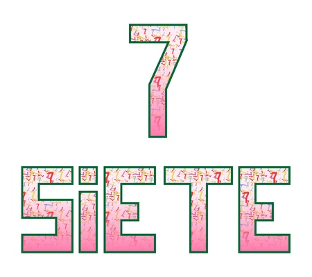 Siete seven  Fun colorful numbers with their naming in Spanish, isolated on white Stock Vector - 13590115