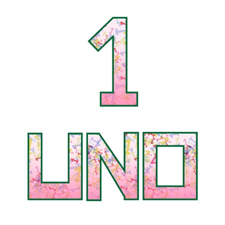 Uno one  Fun colorful numbers with their naming in Spanish, isolated on white Vector