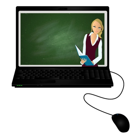 E-tutor Lap top with virtual tutor on the screen