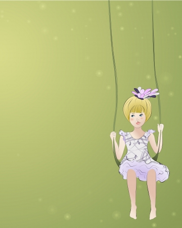 Adorable girl on the swing, with abstract background and space for text Vector
