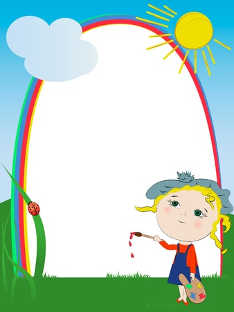 Cute artist girl painting rainbow frame Vector