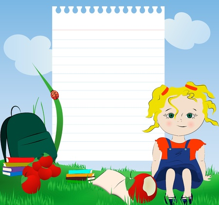 Back to school  Little blond girl sitting on the grass with books, schoolbag ,snack and notepad paper for your text Vector
