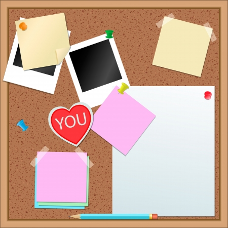 memo pad: Paper stickers and other items on cork-board Illustration