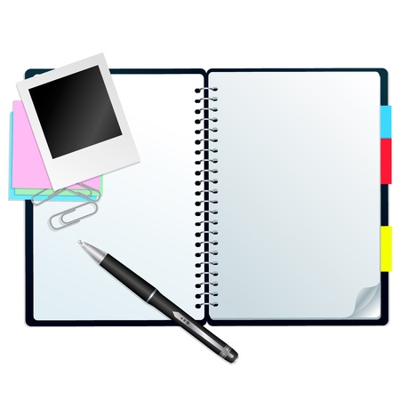 Notebook with pen Open notebook with pen, stickers and paperclips, isolated on white Stock Illustratie