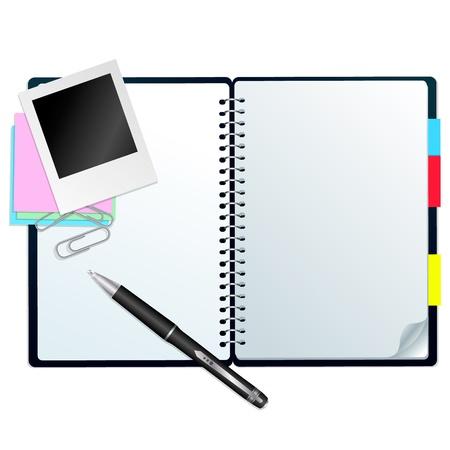 Notebook met pen Open notebook met pen, stickers en paperclips, geïsoleerd op wit Stock Illustratie
