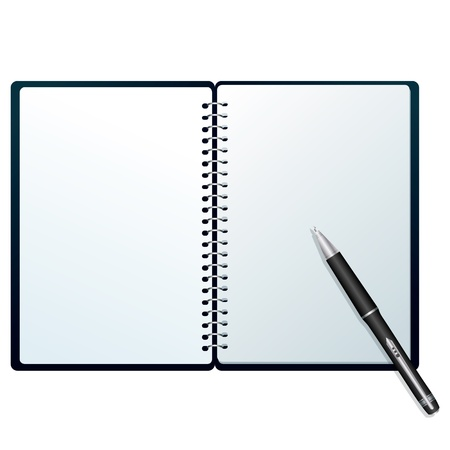 Notebook with pen Open notebook with pen isolated on white Stock Illustratie