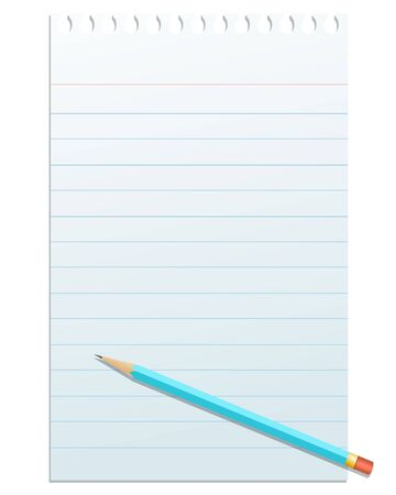 Blank notepad paper with pencil,isolated on white photo