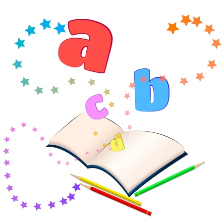 Magic of learning  Open book with colorful stars and letters bursting out of it