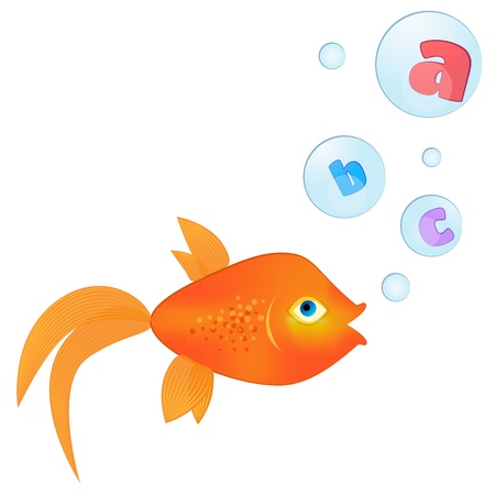Talking goldfish Goldfish with letters inside floating bubbles Vector