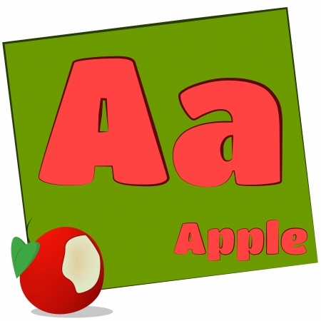 A-apple Colorful alphabet letters with words starting with each and their image photo