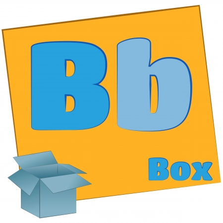B-box Colorful alphabet letters with words starting with each and their image photo
