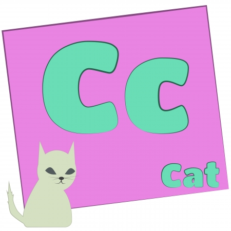 C-cat Colorful alphabet letters with words starting with each and their image photo