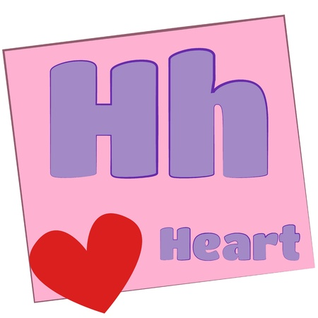 H-heart Colorful alphabet letters with words starting with each and their image photo