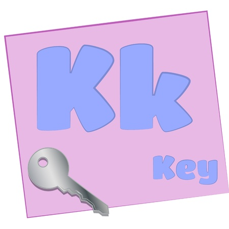 K-key Colorful alphabet letters with words starting with each and their image photo