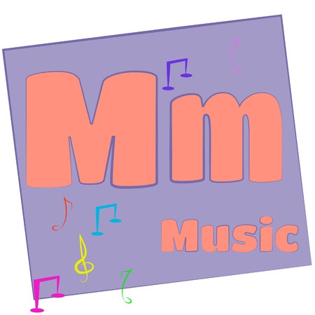 M-music Colorful alphabet letters with words starting with each and their image photo
