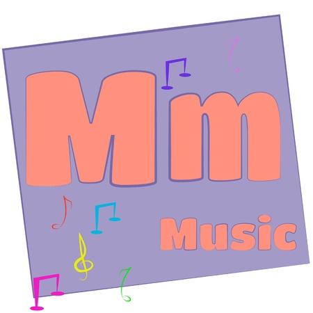 M-m�sica las letras del alfabeto de colores con palabras que empiecen con cada una y su imagen Foto de archivo - 14267642
