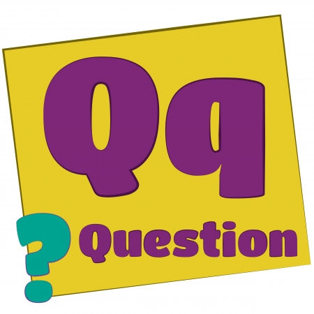 Q-question Colorful alphabet letters with words starting with each and their image photo