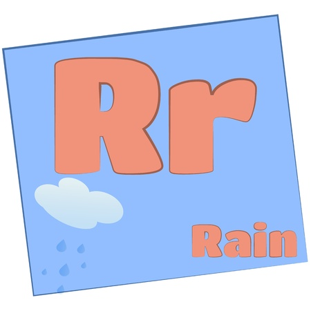 R-rain Colorful alphabet letters with words starting with each and their image photo