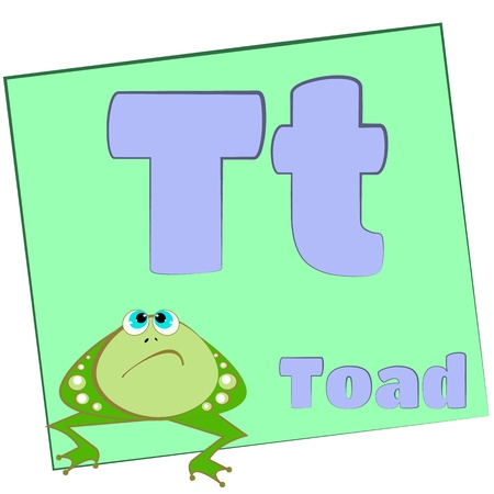 T-toad Colorful alphabet letters with words starting with each and their image photo