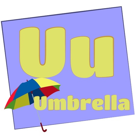 U-umbrella Colorful alphabet letters with words starting with each and their image photo