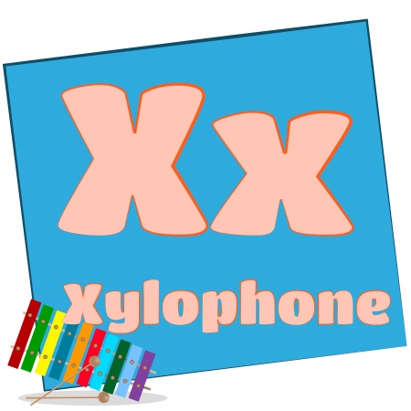 X-xylophone Colorful alphabet letters with words starting with each and their image photo