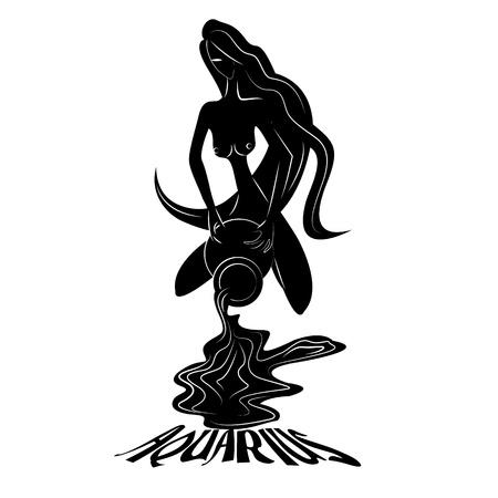 Aquarius Elegant zodiac signs silhouettes isolated on white