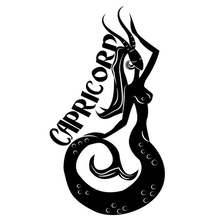 Capricorn Elegant zodiac signs silhouettes isolated on white Stock Photo