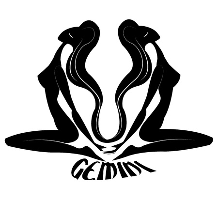 cosmology: Gemini Elegant zodiac signs silhouettes isolated on white