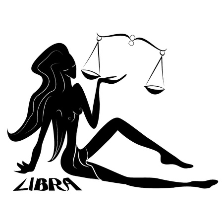 Libra Elegant zodiac signs silhouettes isolated on white photo