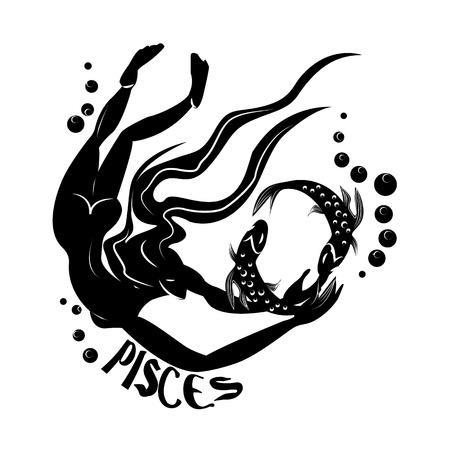 Pisces Elegant zodiac signs silhouettes isolated on white photo