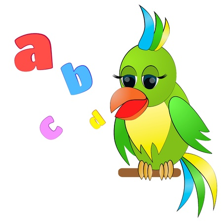 speak english: Talking parrotColorful parrot with letters isolated on white Illustration