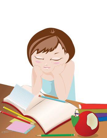 eat cartoon: Homework Girl studying isolated on white