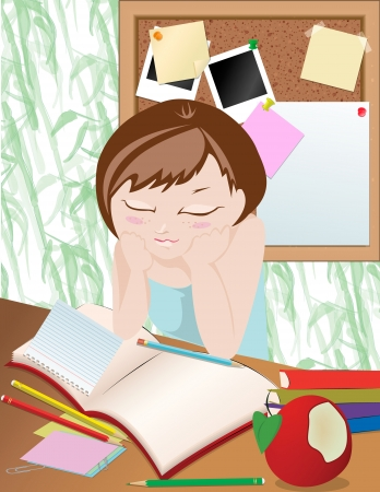 Homework Girl studying in the room Vector