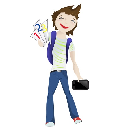 Boy standing smiling with tablet and numbers in his hands Vector