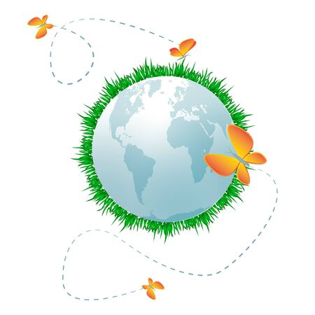 butterfly stationary: Eco planet Pale blue planet with grass, clouds and butterflies