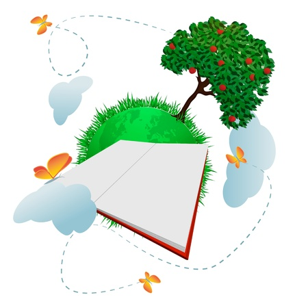 Global education Green planet with apple tree big blank open book in front of it and lovely butterflies photo
