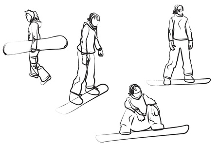SnowboardingFour female doodle silhouettes isolated on white Illustration