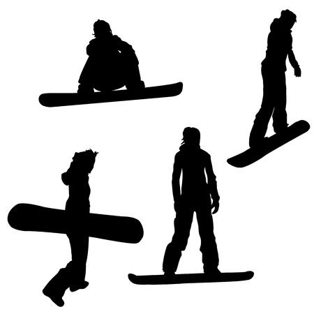 Snowboarden  Vier vrouwelijke silhouetten op wit wordt geïsoleerd