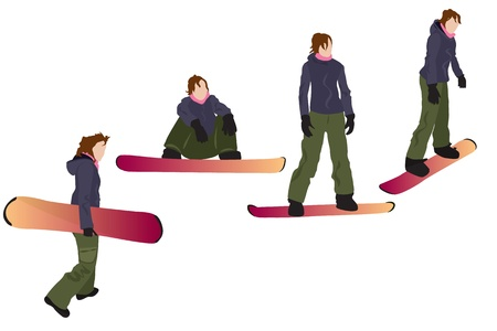 SnowboardingFour colorful female silhouettes isolated on white Vector