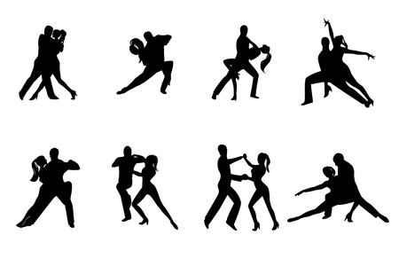 rumba: Eight dancing couple silhouettes