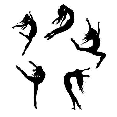 Five black silhouettes dancing(jumping) woman Vector