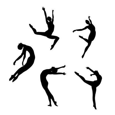 nude gymnast: Five black silhouettes dancing(jumping) woman