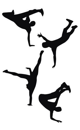 Four black hip hop dancing silhouettes  Vector