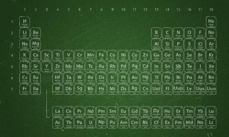 nobile: Tavola periodica degli elementi scritti con il gesso sulla lavagna