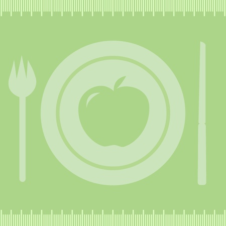 kilos: Healthy diet appleFrame measuring tape boarder with apple on plate, fork and knife.